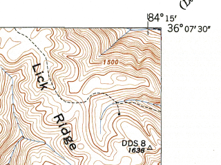 Reduced fragment of topographic map en--usgs--024k--049419--(1946)--N036-07-30_W084-22-30--N036-00-00_W084-15-00; towns and cities Oliver Springs