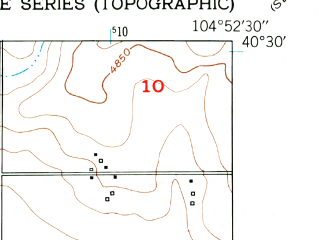 Reduced fragment of topographic map en--usgs--024k--049422--(1950)--N040-30-00_W105-00-00--N040-22-30_W104-52-30; towns and cities Windsor