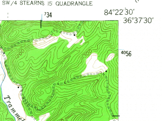 Reduced fragment of topographic map en--usgs--024k--049457--(1953)--N036-37-30_W084-30-00--N036-30-00_W084-22-30; towns and cities Winfield