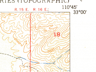 Reduced fragment of topographic map en--usgs--024k--049488--(1950)--N033-00-00_W110-52-30--N032-52-30_W110-45-00; towns and cities Winkelman