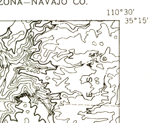 Reduced fragment of topographic map en--usgs--024k--049530--(1954)--N035-15-00_W110-37-30--N035-07-30_W110-30-00