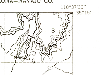 Reduced fragment of topographic map en--usgs--024k--049531--(1954)--N035-15-00_W110-45-00--N035-07-30_W110-37-30