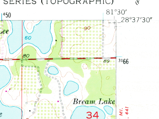 Reduced fragment of topographic map en--usgs--024k--049546--(1956)--N028-37-30_W081-37-30--N028-30-00_W081-30-00; towns and cities Ocoee, Winter Garden