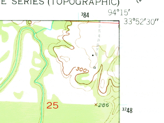 Reduced fragment of topographic map en--usgs--024k--049567--(1950)--N033-52-30_W094-22-30--N033-45-00_W094-15-00; towns and cities Winthrop