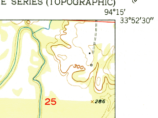 Reduced fragment of topographic map en--usgs--024k--049567--(1951)--N033-52-30_W094-22-30--N033-45-00_W094-15-00; towns and cities Winthrop