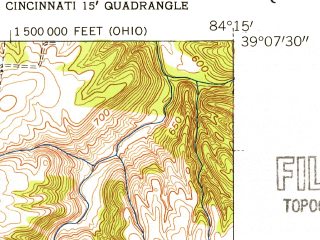 Reduced fragment of topographic map en--usgs--024k--049602--(1953)--N039-07-30_W084-22-30--N039-00-00_W084-15-00; towns and cities Dry Run, Forestville, Cherry Grove, Turpin Hills, Withamsville