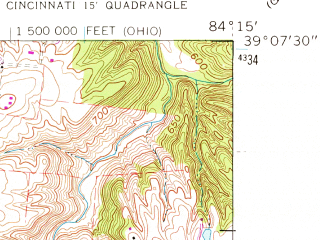 Reduced fragment of topographic map en--usgs--024k--049602--(1961)--N039-07-30_W084-22-30--N039-00-00_W084-15-00; towns and cities Dry Run, Forestville, Newtown, Sherwood Village, Summerside