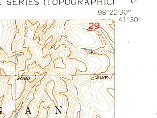 Reduced fragment of topographic map en--usgs--024k--049622--(1954)--N041-30-00_W098-30-00--N041-22-30_W098-22-30; towns and cities Wolbach