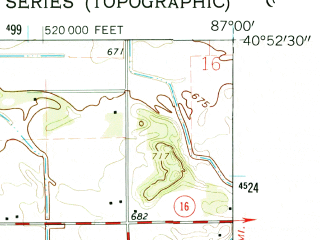 Reduced fragment of topographic map en--usgs--024k--049628--(1962)--N040-52-30_W087-07-30--N040-45-00_W087-00-00; towns and cities Wolcott
