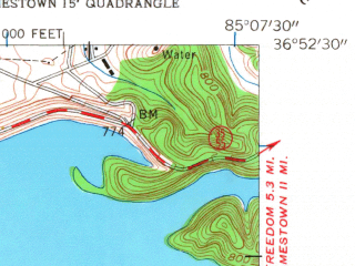 Reduced fragment of topographic map en--usgs--024k--049647--(1953)--N036-52-30_W085-15-00--N036-45-00_W085-07-30