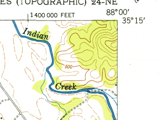 Reduced fragment of topographic map en--usgs--024k--049672--(1952)--N035-15-00_W088-07-30--N035-07-30_W088-00-00
