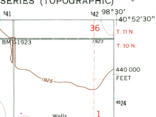 Reduced fragment of topographic map en--usgs--024k--049725--(1962)--N040-52-30_W098-37-30--N040-45-00_W098-30-00; towns and cities Wood River