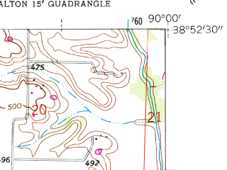 Reduced fragment of topographic map en--usgs--024k--049726--(1955)--N038-52-30_W090-07-30--N038-45-00_W090-00-00; towns and cities Wood River, Hartford, Roxana, South Roxana