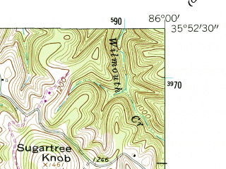 Reduced fragment of topographic map en--usgs--024k--049748--(1962)--N035-52-30_W086-07-30--N035-45-00_W086-00-00; towns and cities Woodbury