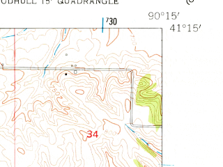 Reduced fragment of topographic map en--usgs--024k--049758--(1953)--N041-15-00_W090-22-30--N041-07-30_W090-15-00; towns and cities Woodhull