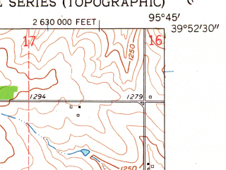 Reduced fragment of topographic map en--usgs--024k--049777--(1961)--N039-52-30_W095-52-30--N039-45-00_W095-45-00