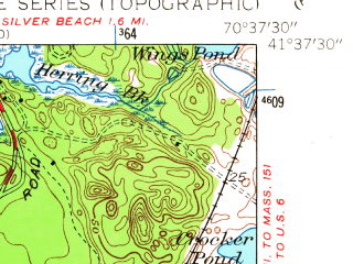 Reduced fragment of topographic map en--usgs--024k--049804--(1953)--N041-37-30_W070-45-00--N041-30-00_W070-37-30; towns and cities West Falmouth