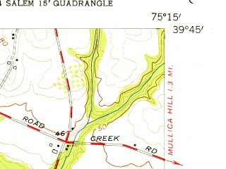 Reduced fragment of topographic map en--usgs--024k--049831--(1955)--N039-45-00_W075-22-30--N039-37-30_W075-15-00; towns and cities Swedesboro, Woodstown