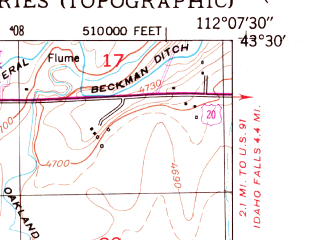 Reduced fragment of topographic map en--usgs--024k--049836--(1959)--N043-30-00_W112-15-00--N043-22-30_W112-07-30