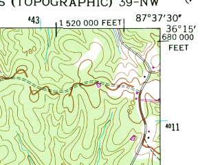 Reduced fragment of topographic map en--usgs--024k--049869--(1952)--N036-15-00_W087-45-00--N036-07-30_W087-37-30