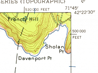 Reduced fragment of topographic map en--usgs--024k--049872--(1948)--N042-22-30_W071-52-30--N042-15-00_W071-45-00; towns and cities Worcester
