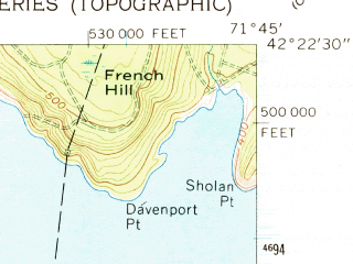Reduced fragment of topographic map en--usgs--024k--049872--(1960)--N042-22-30_W071-52-30--N042-15-00_W071-45-00; towns and cities Worcester