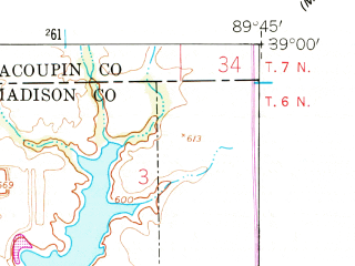 Reduced fragment of topographic map en--usgs--024k--049876--(1954)--N039-00-00_W089-52-30--N038-52-30_W089-45-00; towns and cities Hamel, Livingston, Williamson