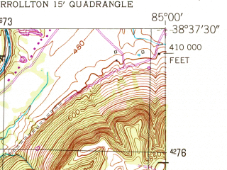 Reduced fragment of topographic map en--usgs--024k--049898--(1952)--N038-37-30_W085-07-30--N038-30-00_W085-00-00; towns and cities Worthville