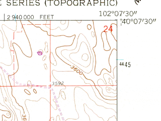 Reduced fragment of topographic map en--usgs--024k--049902--(1961)--N040-07-30_W102-15-00--N040-00-00_W102-07-30; towns and cities Wray