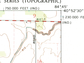 Reduced fragment of topographic map en--usgs--024k--049907--(1960)--N040-52-30_W084-52-30--N040-45-00_W084-45-00; towns and cities Wren