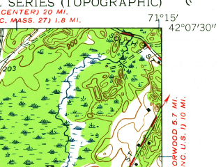 Reduced fragment of topographic map en--usgs--024k--049911--(1945)--N042-07-30_W071-22-30--N042-00-00_W071-15-00