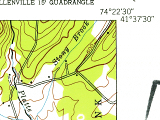 Reduced fragment of topographic map en--usgs--024k--049942--(1943)--N041-37-30_W074-30-00--N041-30-00_W074-22-30; towns and cities Bloomingburg