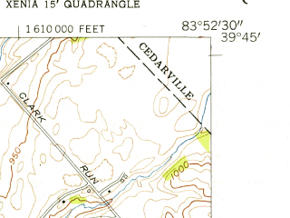 Reduced fragment of topographic map en--usgs--024k--049989--(1955)--N039-45-00_W084-00-00--N039-37-30_W083-52-30; towns and cities Xenia, Wilberforce