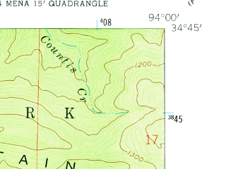 Reduced fragment of topographic map en--usgs--024k--049994--(1958)--N034-45-00_W094-07-30--N034-37-30_W094-00-00