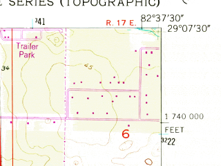 Reduced fragment of topographic map en--usgs--024k--050036--(1955)--N029-07-30_W082-45-00--N029-00-00_W082-37-30; towns and cities Yankeetown, Inglis