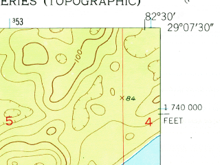 Reduced fragment of topographic map en--usgs--024k--050038--(1954)--N029-07-30_W082-37-30--N029-00-00_W082-30-00