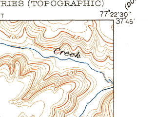 Reduced fragment of topographic map en--usgs--024k--050083--(1951)--N037-45-00_W077-30-00--N037-37-30_W077-22-30; towns and cities Glen Allen, Chamberlayne