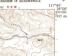 Reduced fragment of topographic map en--usgs--024k--050120--(1949)--N034-00-00_W117-52-30--N033-52-30_W117-45-00; towns and cities Diamond Bar, Yorba Linda, Placentia, Brea, Chino Hills