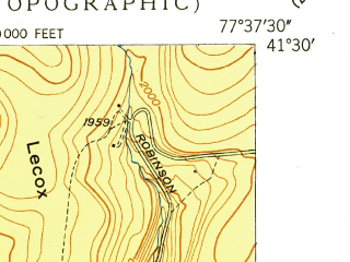 Reduced fragment of topographic map en--usgs--024k--050155--(1949)--N041-30-00_W077-45-00--N041-22-30_W077-37-30