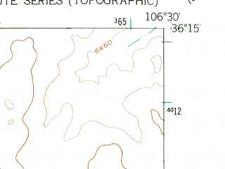 Reduced fragment of topographic map en--usgs--024k--050165--(1953)--N036-15-00_W106-37-30--N036-07-30_W106-30-00