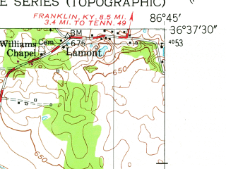 Reduced fragment of topographic map en--usgs--024k--050166--(1952)--N036-37-30_W086-52-30--N036-30-00_W086-45-00
