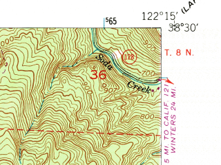 Reduced fragment of topographic map en--usgs--024k--050168--(1951)--N038-30-00_W122-22-30--N038-22-30_W122-15-00; towns and cities Yountville