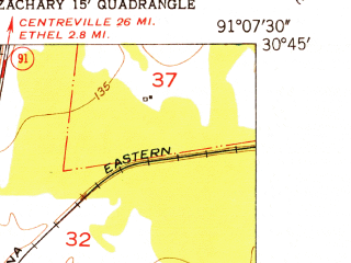 Reduced fragment of topographic map en--usgs--024k--050203--(1954)--N030-45-00_W091-15-00--N030-37-30_W091-07-30; towns and cities Zachary, Slaughter