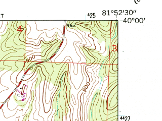 Reduced fragment of topographic map en--usgs--024k--050212--(1961)--N040-00-00_W082-00-00--N039-52-30_W081-52-30; towns and cities Pleasant Grove