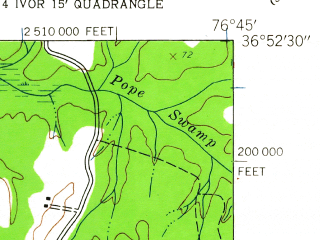 Reduced fragment of topographic map en--usgs--024k--050272--(1944)--N036-52-30_W076-52-30--N036-45-00_W076-45-00