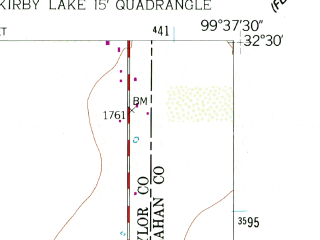 Reduced fragment of topographic map en--usgs--024k--069121--(1957)--N032-30-00_W099-45-00--N032-22-30_W099-37-30; towns and cities Abilene, Impact
