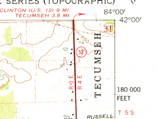 Reduced fragment of topographic map en--usgs--024k--069132--(1962)--N042-00-00_W084-07-30--N041-52-30_W084-00-00; towns and cities Adrian