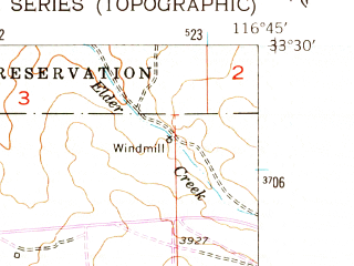 Reduced fragment of topographic map en--usgs--024k--069138--(1954)--N033-30-00_W116-52-30--N033-22-30_W116-45-00