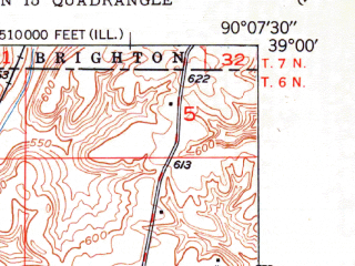 Reduced fragment of topographic map en--usgs--024k--069165--(1950)--N039-00-00_W090-15-00--N038-52-30_W090-07-30; towns and cities Alton, Godfrey