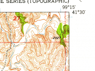 Reduced fragment of topographic map en--usgs--024k--069182--(1951)--N041-30-00_W099-22-30--N041-22-30_W099-15-00